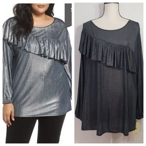 SEJOUR navy silver long sleeve ruffle top 2X